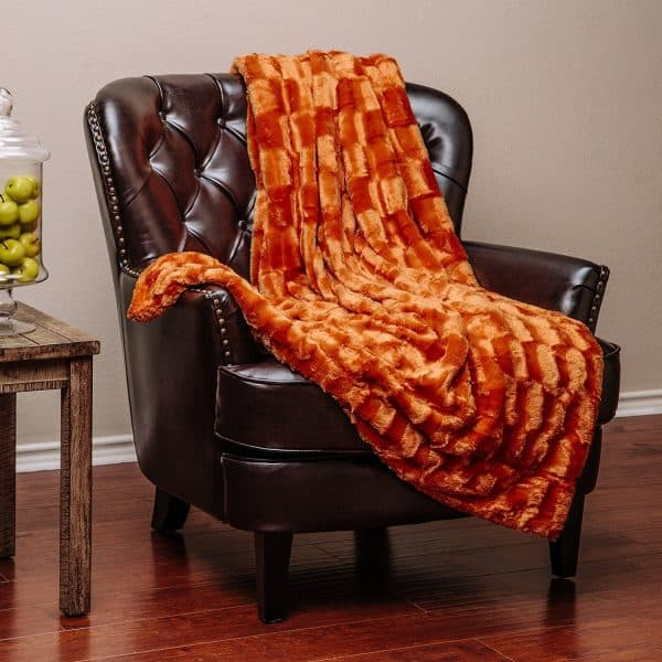 orange fur sherpa throw blanket