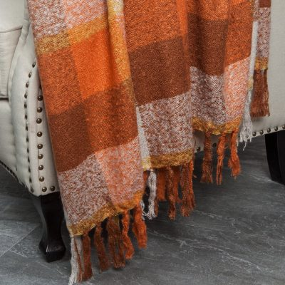 orange plaid throw blanket
