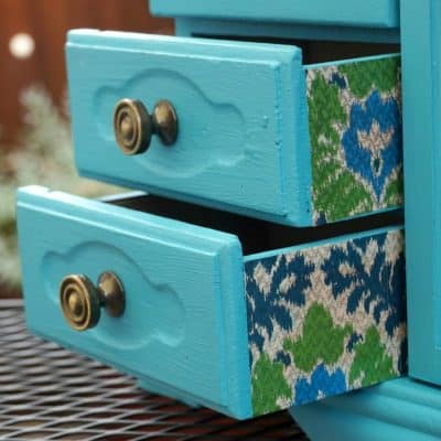 How to Decoupage a Jewelry Cabinet with Ikat Paper