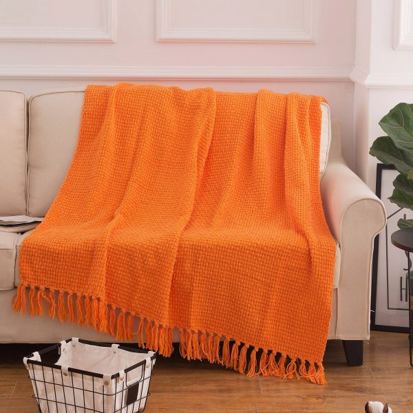 woven throw blanket with tassels