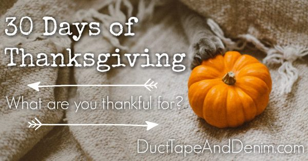 30 Days of Thanksgiving, what are you thankful for #30DoT | DuctTapeAndDenim.com