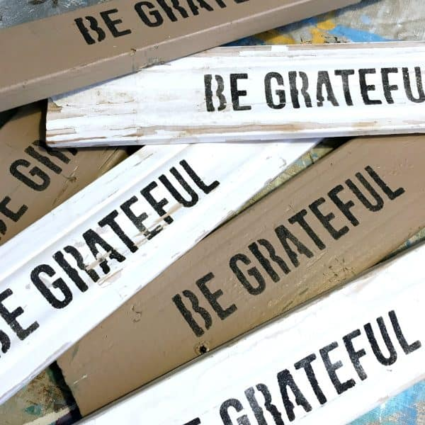 Be Grateful, repurposed boards, easy stenciled project SQUARE