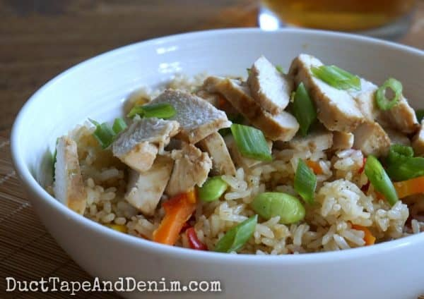 Chicken and fried rice bowl. 5 easy Asian menus for weeknight meals. | DuctTapeAndDenim.com