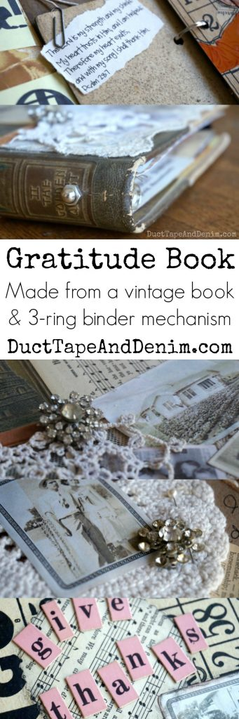DIY gratitude book made from vintage book & 3-ring binder mechanism #30DoT DuctTapeAndDenim.com