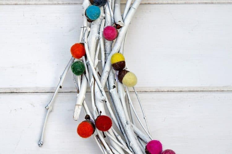 felted acorn wreath