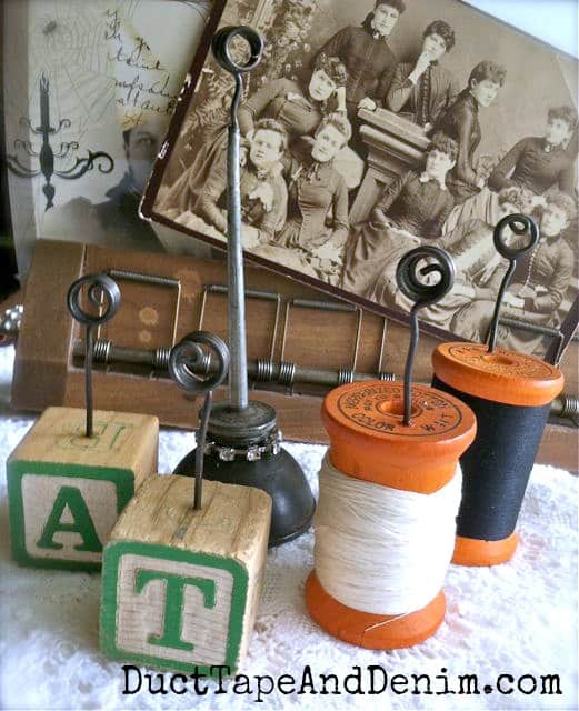 Upcycled photo holders made with vintage spools and vintage oil cans | DuctTapeAndDenim.com
