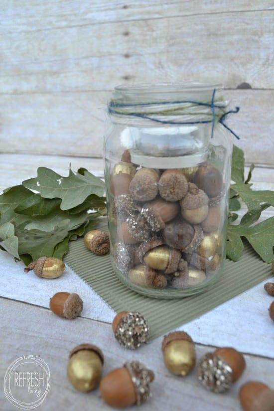 gold glitter acorns