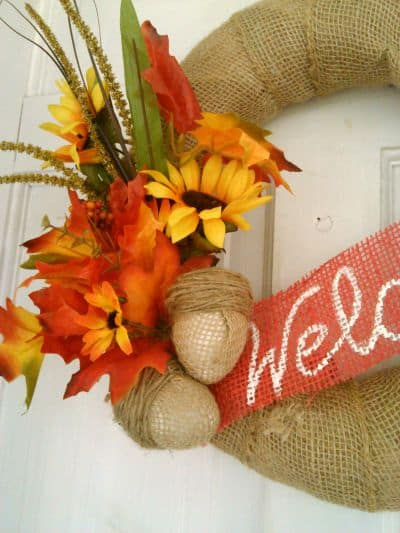 burlap acorns on fall wreath