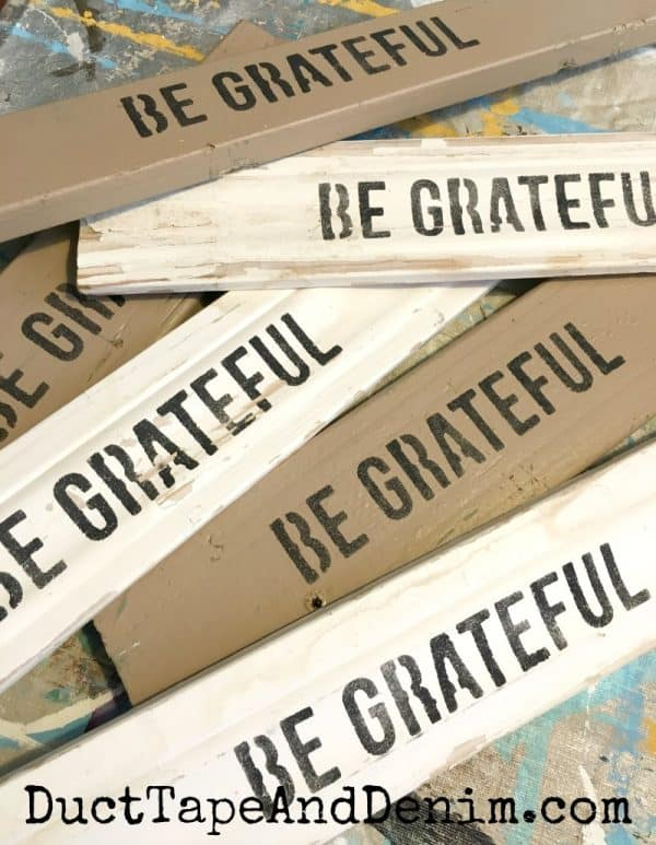 be grateful stenciled on old wood scraps | DuctTapeAndDenim.com