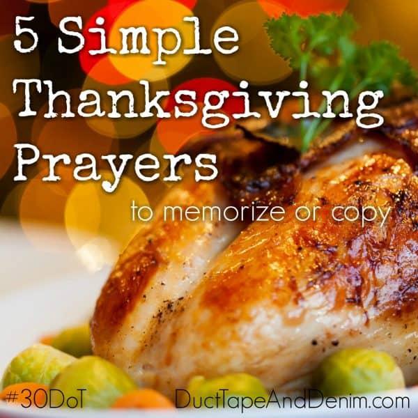 5 Simple Thanksgiving prayers