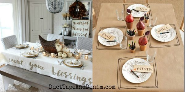 5 easy DIY Thanksgiving tablecloth ideas | DuctTapeAndDenim.com