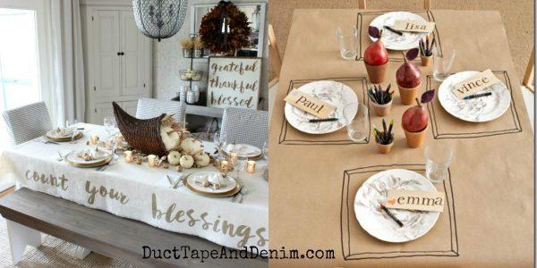 5 easy DIY Thanksgiving tablecloth ideas   DuctTapeAndDenim.com