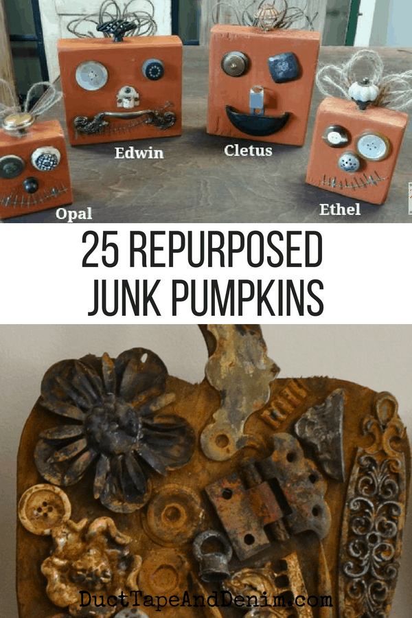 25 repurposed junk pumpkins, collage 1