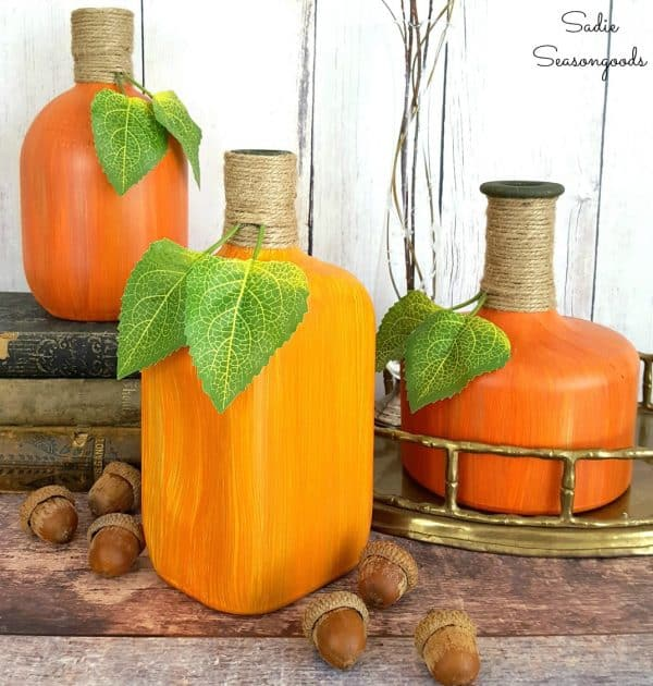 Repurposed_bourbon_and_whiskey_glass_liquor_bottles_into_upcycled_DIY_pumpkins_and_gourds_by_Sadie_Seasongoods