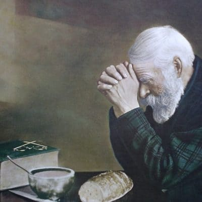 Saying grace, painting of old man praying #30DoT SQUARE