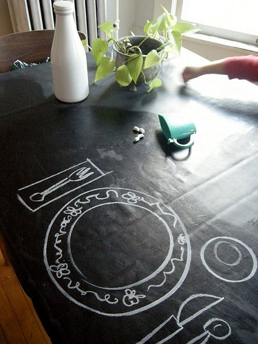 Thanksgiving chalkboard tablecloth. More holiday ideas on DuctTapeAndDenim.com