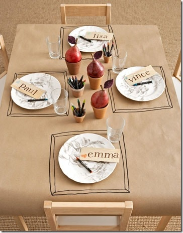 Thanksgiving tablecloth for kids' table. More holiday ideas on DuctTapeAndDenim.com