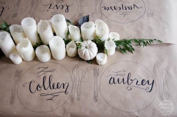 Friendsgiving tablecloth idea. More holiday ideas on DuctTapeAndDenim.com