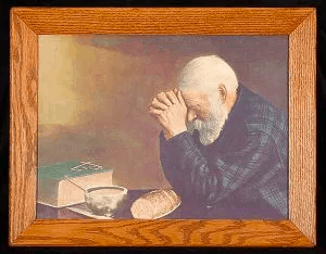 Painting of old man praying. Thankful for our daily provisions. 30 Days of Thanksgiving on DuctTapeAndDenim.com