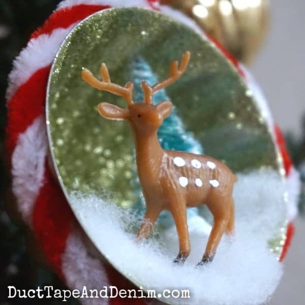 Close up, DIY glitter Christmas ornament | DuctTapeAndDenim.com