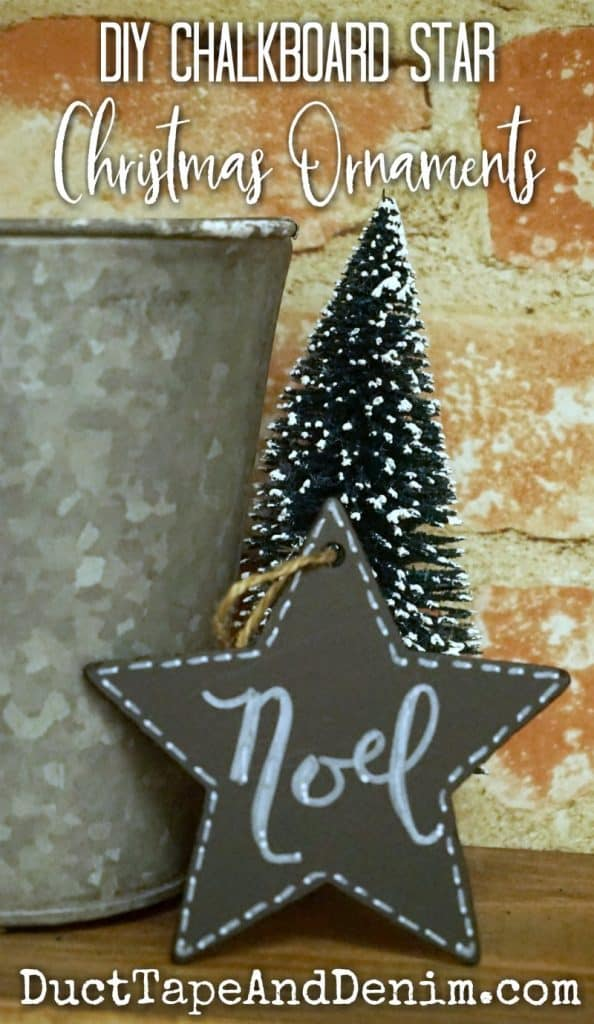 DIY Chalkboard Star Christmas Ornaments on DuctTapeAndDenim.com
