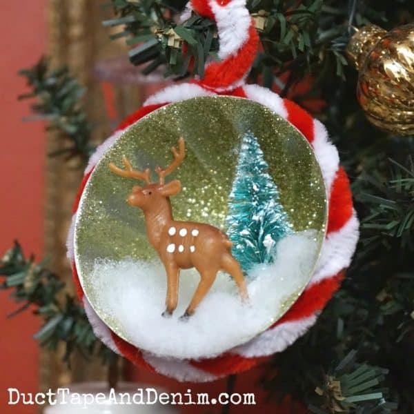 Finished glitter Christmas ornament | DuctTapeAndDenim.com