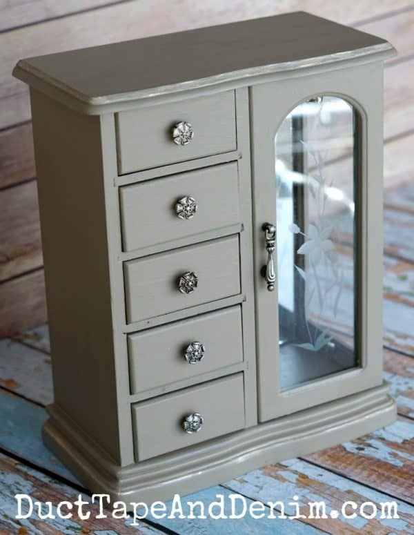 Finished thrift store jewelry cabinet makeover | DuctTapeAndDenim.com