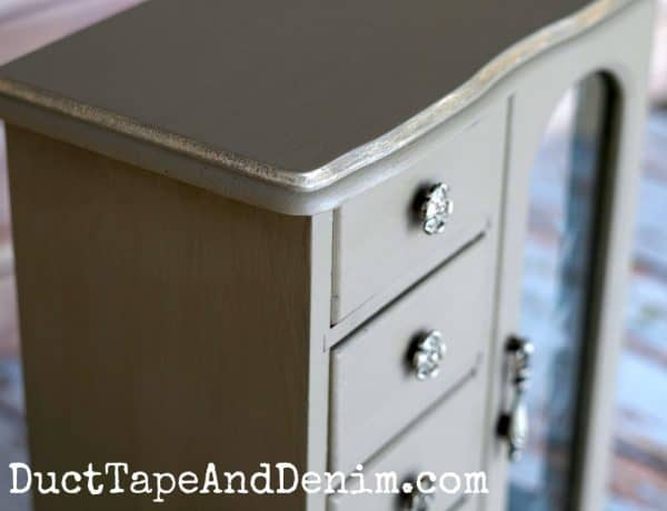 Gold edge jewelry cabinet makeover | DuctTapeAndDenim.com