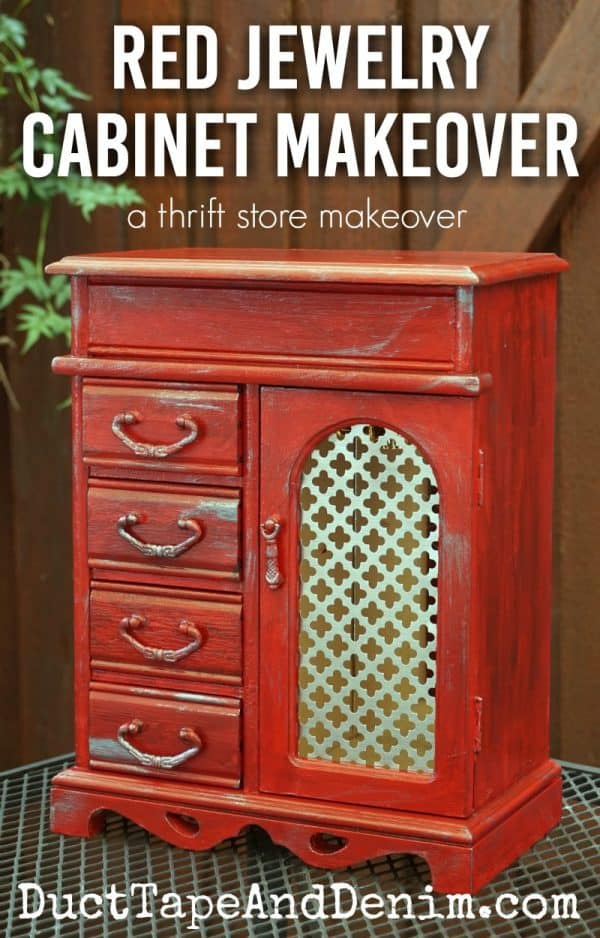 Red jewelry cabinet makeover by DuctTapeAndDenim.com