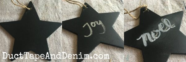 Step by step chalkboard star ornaments for Christmas on DuctTapeAndDenim.com