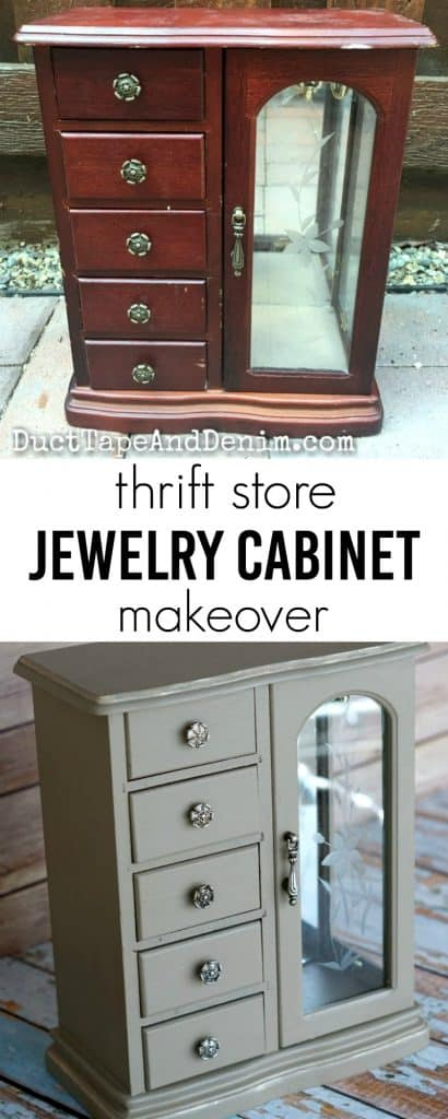 Thrift store jewelry cabinet makeover with gold wax edges on DuctTapeAndDenim.com