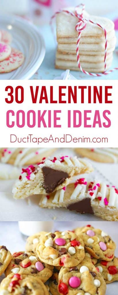 30 Valentine cookie ideas on DuctTapeAndDenim.com #cookies #cookierecipes #valentinecookies #valentinesdaycookies #valentinecookie #valentinecookierecipes