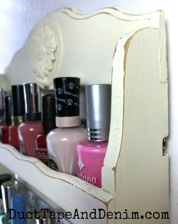 Close up of distressing on my upcycled nail polish rack / spice shelf | DuctTapeAndDenim.com