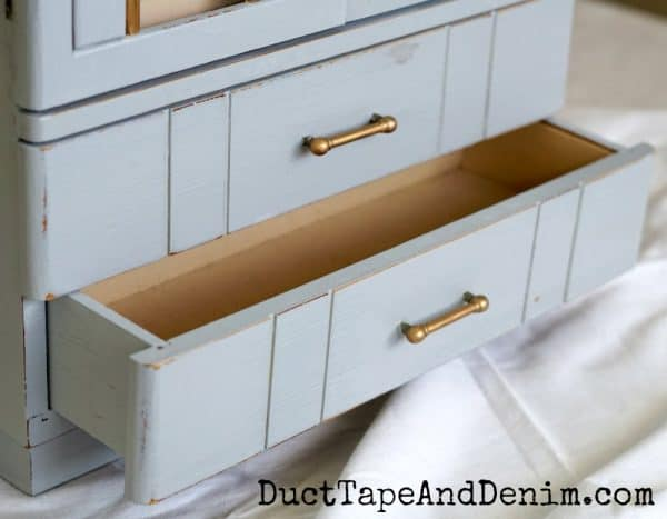 Drawers on my art deco jewelry cabinet makeover | DuctTapeAndDenim.com