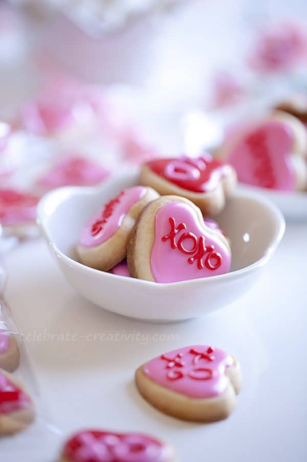 Tiny Valentine sugar cookie bites