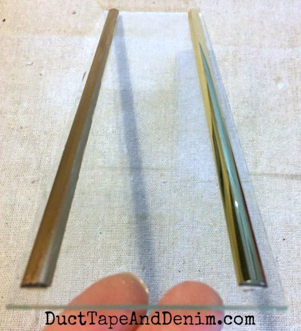 Glass door in jewelry cabinet makeover | DuctTapeAndDenim.com