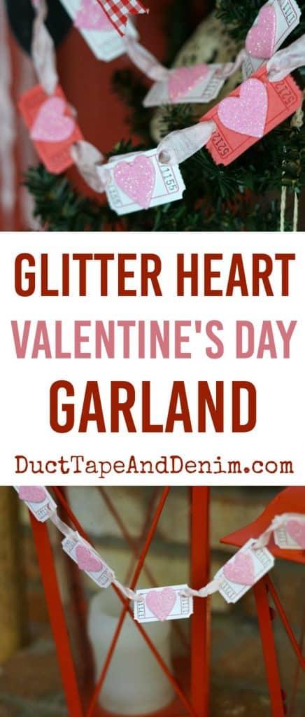Glitter heart Valentine's Day garland. How to make a super easy Valentine banner. | DuctTapeAndDenim.com #valentinesday #valentinebanner #valentinesdaygarland #valentinecraft #valentinesdaycraft #garland #DIYgarland #heartcraft #heartgarland #glitter #glittercraft #craft #crafting