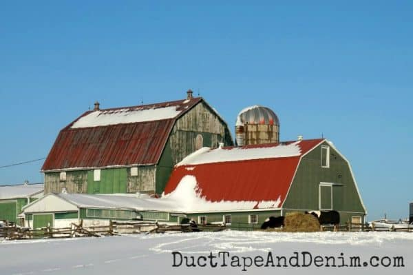 Green barn with red roof | DuctTapeAndDenim.com