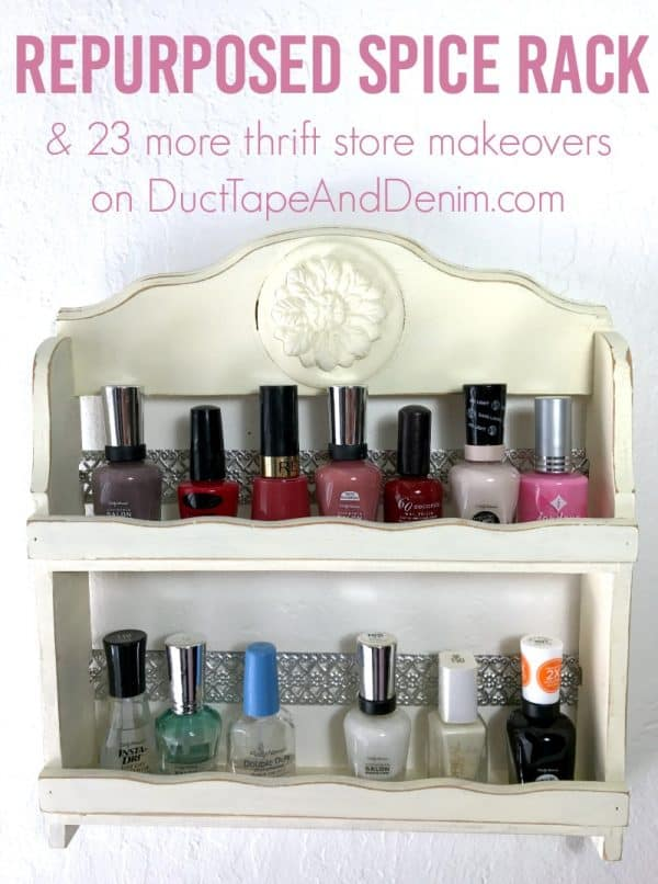 My repurposed spice rack, Finished nail polish rack, repurposed spice rack   DuctTapeAndDenim.com #nailpolishrack #woodenspicerack #spicerack #nailpolishholder #nailpolishstorage #nailpolishholder #DIY #thriftstorefind #thriftstoremakeover #chalkpaint #ironorchid #iod #ironorchiddesigns #papercasting #paperclay