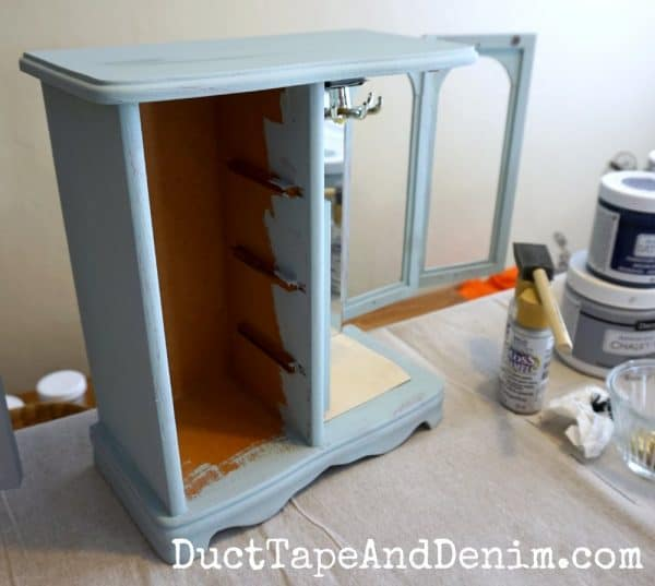 Painting day, jewelry cabinet without drawers | DuctTapeAndDenim.com