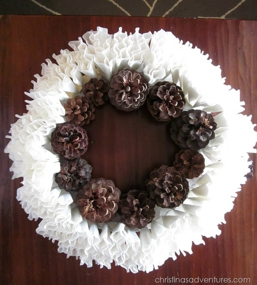 pine cone coffee filter wreath