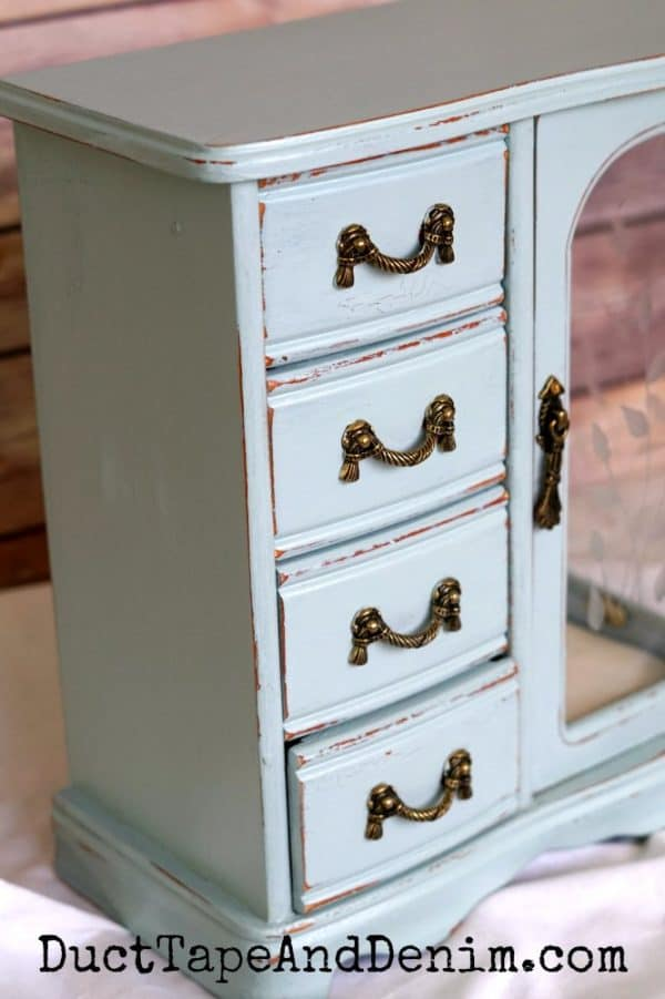blue jewelry cabinet makeover, drawers | DuctTapeAndDenim.com