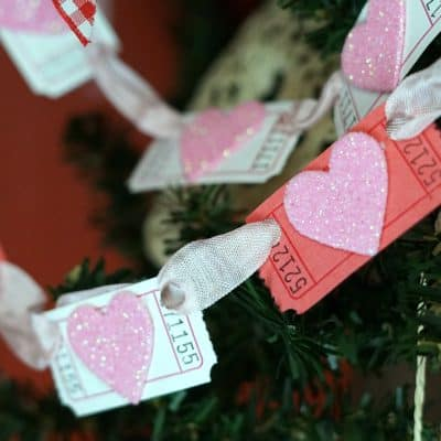 Glitter Heart Valentine Banner with Blank Tickets {VIDEO}