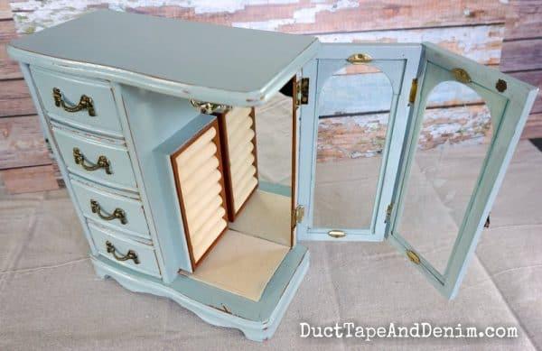thrift store jewelry cabinet with side open door | DuctTapeAndDenim.com