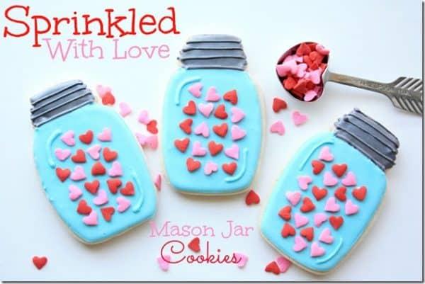 Valentine mason jar cookies