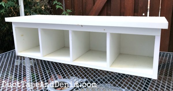 BEFORE - white kitchen cabinet shelf | DuctTapeAndDenim.com