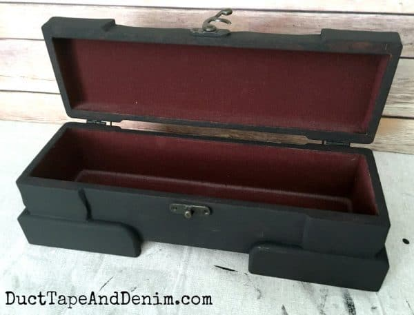 Black chalky paint on thrift store mystery wooden box | DuctTapeAndDenim.com