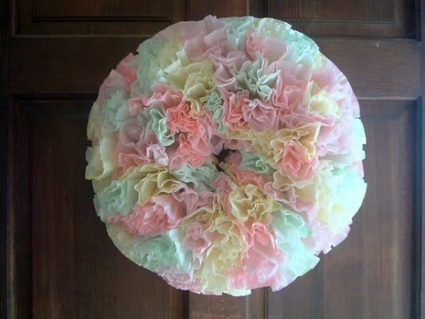 pastel coffee filters easter wreath