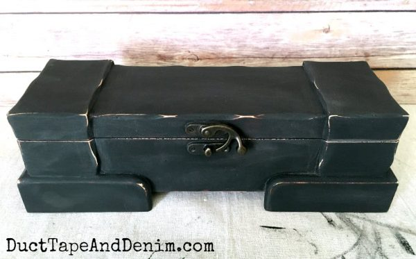 Distressed black chalky finish paint on wood box | DuctTapeAndDenim.com