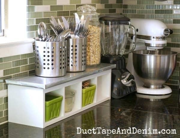 Finished white kitchen shelf makeover   DuctTapeAndDenim.com